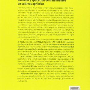 Libro Operaciones Auxiliares Abonado Y Aplicación De Tratamientos En Cultivos Agrícolas