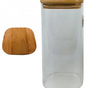 Frasco cuadrado de vidrio con tapa de bambú (1600 ml)